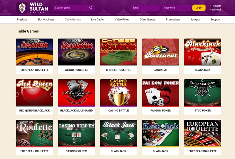 screenshot wild sultan casino interface